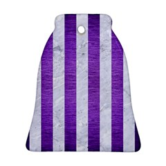Stripes1 White Marble & Purple Brushed Metal Ornament (bell)