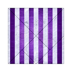 Stripes1 White Marble & Purple Brushed Metal Acrylic Tangram Puzzle (6  X 6 )