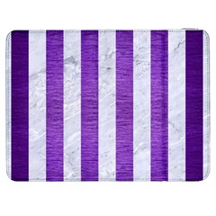 Stripes1 White Marble & Purple Brushed Metal Samsung Galaxy Tab 7  P1000 Flip Case by trendistuff