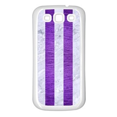 Stripes1 White Marble & Purple Brushed Metal Samsung Galaxy S3 Back Case (white)