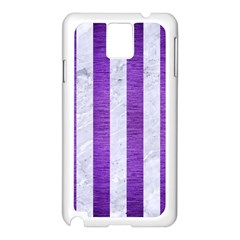 Stripes1 White Marble & Purple Brushed Metal Samsung Galaxy Note 3 N9005 Case (white) by trendistuff