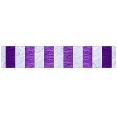 Stripes1 White Marble & Purple Brushed Metal Large Flano Scarf