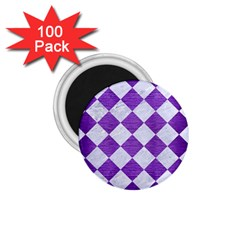 Square2 White Marble & Purple Brushed Metal 1 75  Magnets (100 Pack)