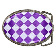 Square2 White Marble & Purple Brushed Metal Belt Buckles