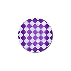 Square2 White Marble & Purple Brushed Metal Golf Ball Marker (4 Pack) by trendistuff