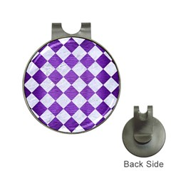 Square2 White Marble & Purple Brushed Metal Hat Clips With Golf Markers