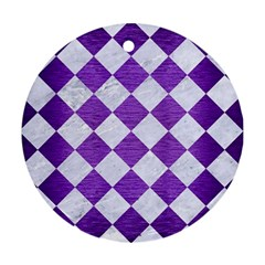 Square2 White Marble & Purple Brushed Metal Round Ornament (two Sides)