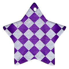 Square2 White Marble & Purple Brushed Metal Star Ornament (two Sides)