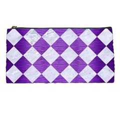 Square2 White Marble & Purple Brushed Metal Pencil Cases by trendistuff