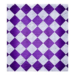 Square2 White Marble & Purple Brushed Metal Shower Curtain 66  X 72  (large)