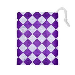 Square2 White Marble & Purple Brushed Metal Drawstring Pouches (large)