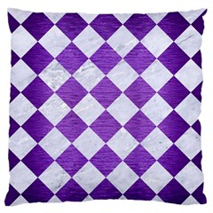 Square2 White Marble & Purple Brushed Metal Standard Flano Cushion Case (one Side)