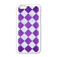 Square2 White Marble & Purple Brushed Metal Apple Iphone 6/6s White Enamel Case