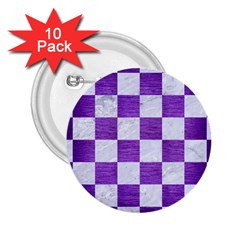 Square1 White Marble & Purple Brushed Metal 2 25  Buttons (10 Pack)  by trendistuff