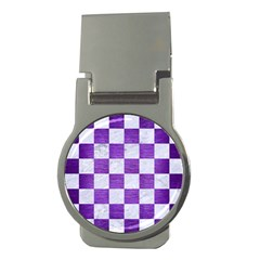 Square1 White Marble & Purple Brushed Metal Money Clips (round)