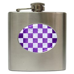 Square1 White Marble & Purple Brushed Metal Hip Flask (6 Oz)