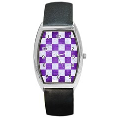 Square1 White Marble & Purple Brushed Metal Barrel Style Metal Watch