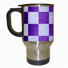 Square1 White Marble & Purple Brushed Metal Travel Mugs (white)