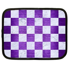 Square1 White Marble & Purple Brushed Metal Netbook Case (large) by trendistuff