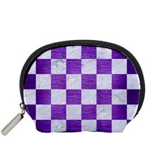 Square1 White Marble & Purple Brushed Metal Accessory Pouches (small)
