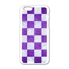 Square1 White Marble & Purple Brushed Metal Apple Iphone 6/6s White Enamel Case