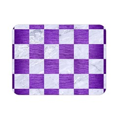 Square1 White Marble & Purple Brushed Metal Double Sided Flano Blanket (mini)