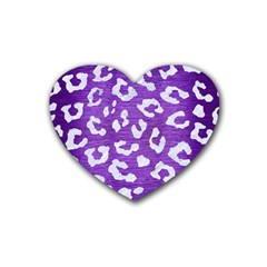 Skin5 White Marble & Purple Brushed Metal (r) Heart Coaster (4 Pack)