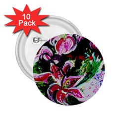Lilac And Lillies 3 2 25  Buttons (10 Pack)  by bestdesignintheworld