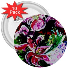 Lilac And Lillies 3 3  Buttons (10 Pack)  by bestdesignintheworld