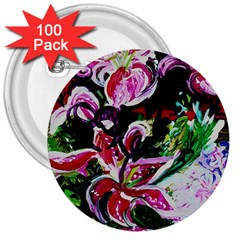 Lilac And Lillies 3 3  Buttons (100 Pack)  by bestdesignintheworld