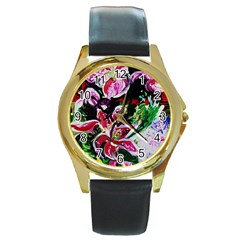 Lilac And Lillies 3 Round Gold Metal Watch by bestdesignintheworld