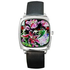 Lilac And Lillies 3 Square Metal Watch by bestdesignintheworld