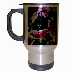 Lilac And Lillies 3 Travel Mug (silver Gray) by bestdesignintheworld