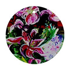 Lilac And Lillies 3 Round Ornament (two Sides) by bestdesignintheworld