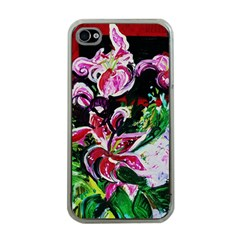 Lilac And Lillies 3 Apple Iphone 4 Case (clear) by bestdesignintheworld