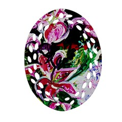 Lilac And Lillies 3 Ornament (oval Filigree) by bestdesignintheworld