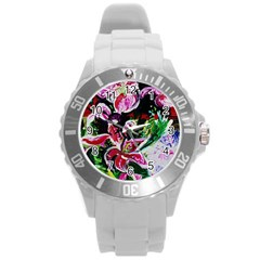 Lilac And Lillies 3 Round Plastic Sport Watch (l) by bestdesignintheworld