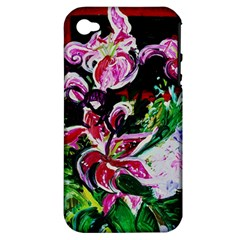 Lilac And Lillies 3 Apple Iphone 4/4s Hardshell Case (pc+silicone) by bestdesignintheworld