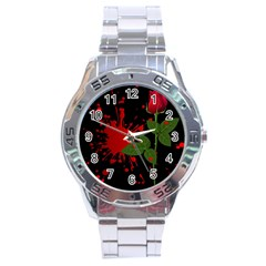 Background Texture Stain Stainless Steel Analogue Watch