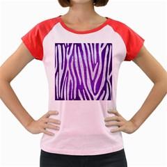 Skin4 White Marble & Purple Brushed Metal (r) Women s Cap Sleeve T Shirt by trendistuff