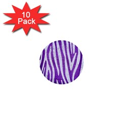 Skin4 White Marble & Purple Brushed Metal (r) 1  Mini Buttons (10 Pack)