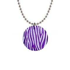 Skin4 White Marble & Purple Brushed Metal (r) Button Necklaces