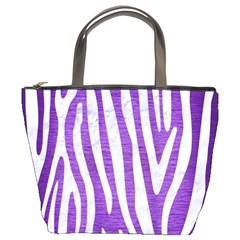Skin4 White Marble & Purple Brushed Metal (r) Bucket Bags