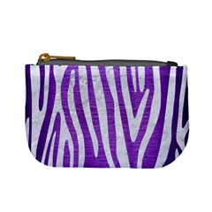 Skin4 White Marble & Purple Brushed Metal (r) Mini Coin Purses