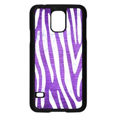 Skin4 White Marble & Purple Brushed Metal (r) Samsung Galaxy S5 Case (black)