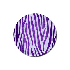 Skin4 White Marble & Purple Brushed Metal Rubber Round Coaster (4 Pack)
