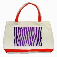 Skin4 White Marble & Purple Brushed Metal Classic Tote Bag (red)