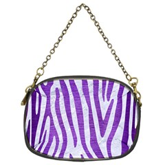 Skin4 White Marble & Purple Brushed Metal Chain Purses (two Sides)