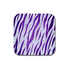 Skin3 White Marble & Purple Brushed Metal (r) Rubber Coaster (square)