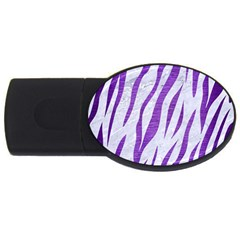 Skin3 White Marble & Purple Brushed Metal (r) Usb Flash Drive Oval (2 Gb)
